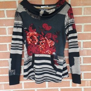 Joseph ribkoff Rose sequin hoodie sweater size 6